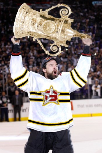 Justin Williams, who was a plpus 10 in 21 playoff games for Geneva, skates the Cup around the Copenhagen rink to end Season 1.