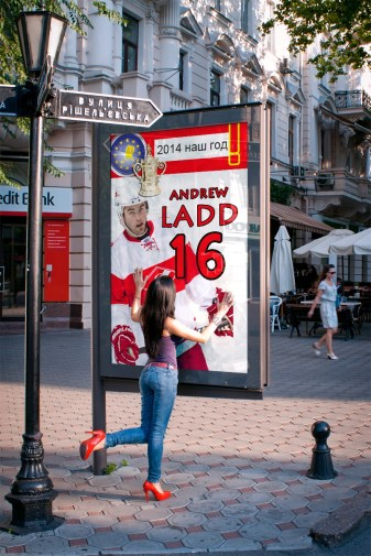 Andrew Ladd has become a fan favorite, especially with the women, in Moscow.