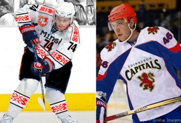 The Kostitsyn brothers are both in the playoff hunt, but with different teams. Sergei (left) plays for Minsk, while Andrei is an Edinburgh Capital.