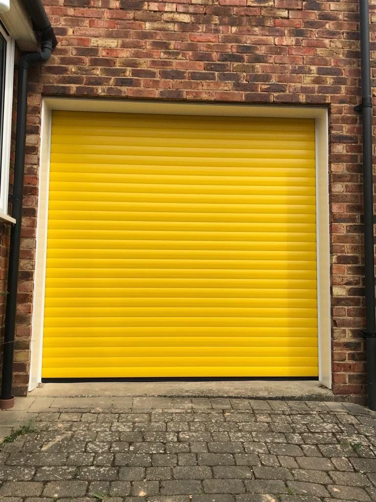 yellow roller garage door