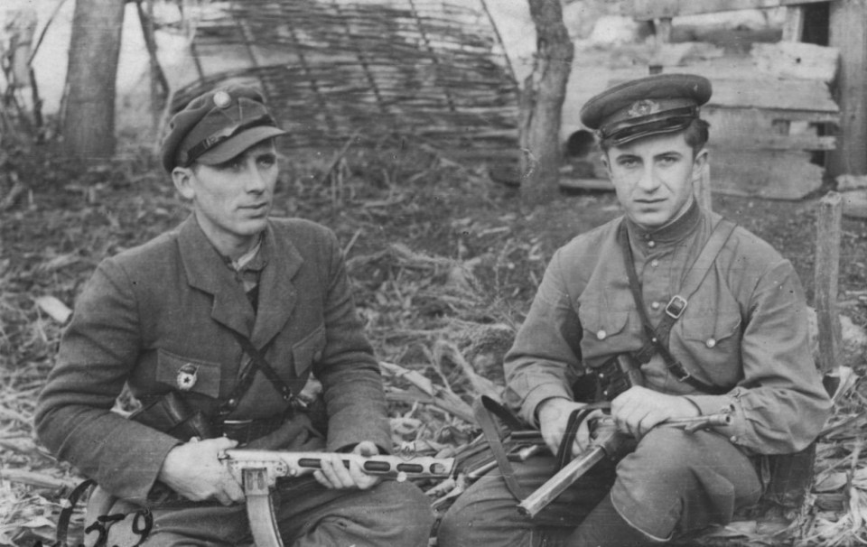 Two soldiers of the Ukrainian Insurgent Army from Bukovyna with captured Soviet and German weapons