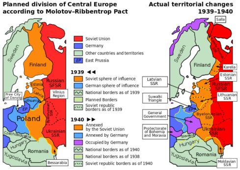 1939 Ribbentrop-Molotov Pact: Nazi-Soviet division of Europe