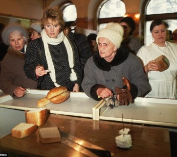 Russians must wait in food lines to get whatever goods are available in November 1991, just a month before the collapse of the USSR