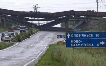 Russian-backed terrorists are deliberately destroying the infrastructure of the Donbas. Destroyed railway bridge over the road Sloviansk-Donetsk-Mariupol