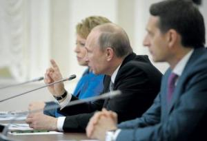 Putin at a meeting with members of the legislature of the Federal Assembly of the Russian Federation, Petrozavodsk, Russia, April 28, 2014