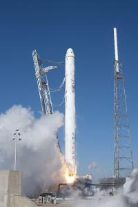 SpaceX's Falcon 9 rocket carrying the Dragon spacecraft, lifts off during the COTS Demo Flight 1 on 8 December 2010