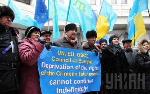 Crimean Tartar protest against the Russian occupation.