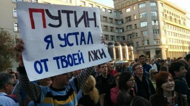 """Moscow: """"Putin, I am tired of your lies"""" - @Fake_MIDRF"""