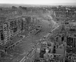 The ruins of the city of Grozny after Russian artillery shelling and airplane bombing in effort to exterminate the defenders of the capitol of rebellious Chechnya. March 1995