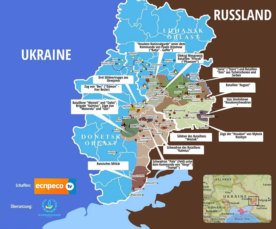 Übersicht über die verschiedenen Gruppierungen, die in den besetzten Teilen der Luhansker und Donezker Region aktiv sind