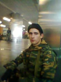 Ein Ausdruck von Angst und Zweifel: Alex Jurin auf dem Flughafen von Donezk