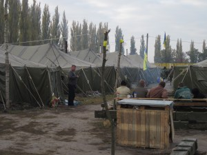 Tents used by the Chechen battalion.
