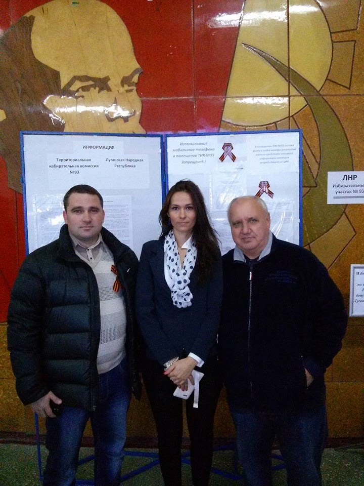"""Adrienn Szaniszló (in the centre) at the """"polling station"""" in the Rostov region, Russia, 2 November 2014"""