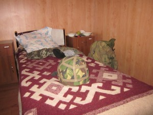 The bed, helmet and kit bag of one of the soldiers alleging some of their officers are betraying them.
