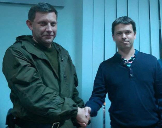 (left to right ) The leader of the DNR terrorists Aleksandr Zakharchenko and Fabrice Beaur (EODE / extreme right Parti communautaire national-européen), 1 November 2014, Donetsk