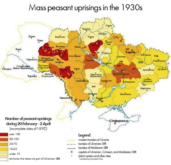 Peasant Mass Protests 1930. Regions with most protests for one month of March, 1930: Shepetivska -251, Tulchynska - 146, Berdychivska - 130, Prylutska - 107, Shevchenkivska - 92, Dnipropetrovska - 81, Vinnytska - 68, Kyivska - 62, Proskurivska - 61, Bilotserkivska - 60