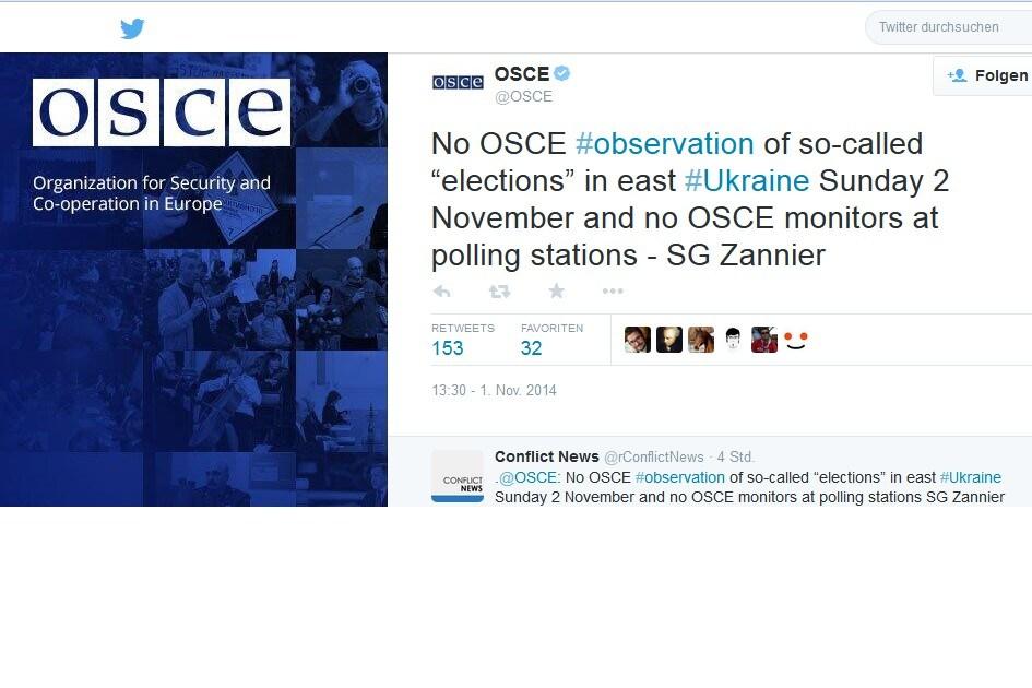 """""""Keine OSZE #observation der sogenannten """"Wahlen"""" in der Ost-#Ukraine Sonntag 2 November und keine OSZE-Beobachter in den Wahllokalen - Genralsekretär Zannier — OSCE"""" (@OSCE) November 1, 2014"""