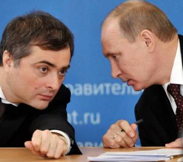 Vladimir Putin with his adviser Vladislav Surkov