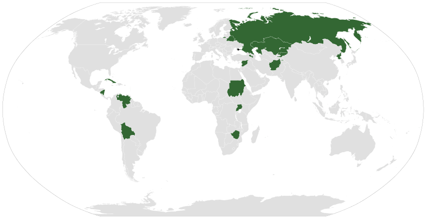 Countries recognizing the results of the 2014 Crimean referendum and Crimea's status within Russia. http://en.wikipedia.org/wiki/Political_status_of_Crimea