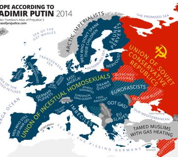 Europe According to Vladimir Putin (Image: Yanko Tsvetkov's Atlas of Prejudice, www.atlasofprejudice.com)