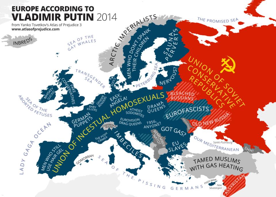 Europe According to Vladimir Putin (Photo: Yanko Tsvetkov's Atlas of Prejudice, www.atlasofprejudice.com)