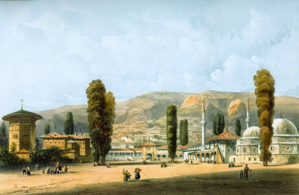 The Palace of the Crimean Khan in Bakhchysarai, Crimea, a lithograph from the collection by Carlo Bossoli, 1843.