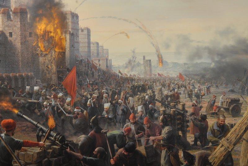 Troops of Mehmed II storming Constantinople