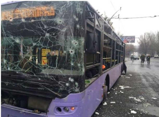 Russian terrorist attack at the bus stop in Donetsk, Ukraine