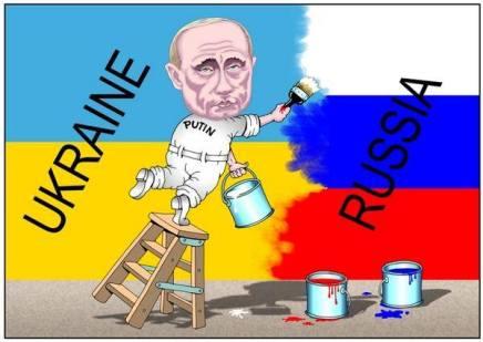 "Political cartoon: Putin paints ""Russia"" over Ukraine"