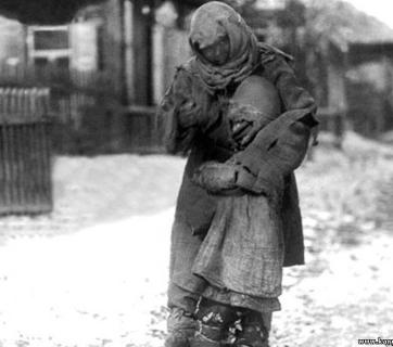 A mother and child, victims of the terror famine in Kazakhstan. Freezing and starving.