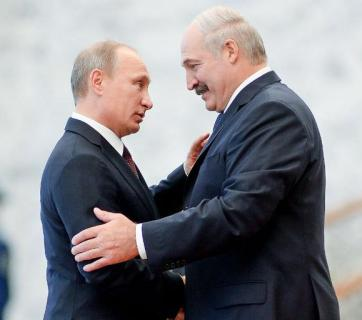 Presidents of Russia and Belarus Putin and Lukashenka