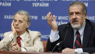 Mustafa Dzhemilev (left) and refat Chubarov at a press conference in Kyiv