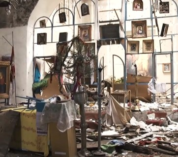 Devastation from the Russian invasion in Donbas, Ukraine (village of Troitske)