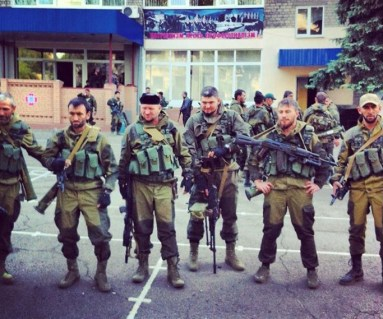 Russian mercenaries from Chechnya in Donetsk, Ukraine (Image: Сергей Шаргунов / Facebook)