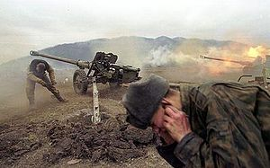 Russian artillery shells militant positions near the village of Duba-Yurt in January 2000 during the Second Russian-Chechen War (Image: wikipedia.org)