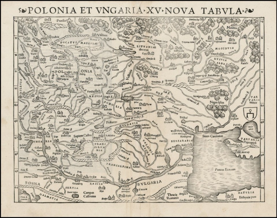 "Map of Poland and Hungary by Sebastian Munster, 1550. The map shows ""Russia"" for Ukraine, ""Russia Alba"" for Belarus, while the Moscow Princedom is called ""Moscovia."" (Source: karty.by)"