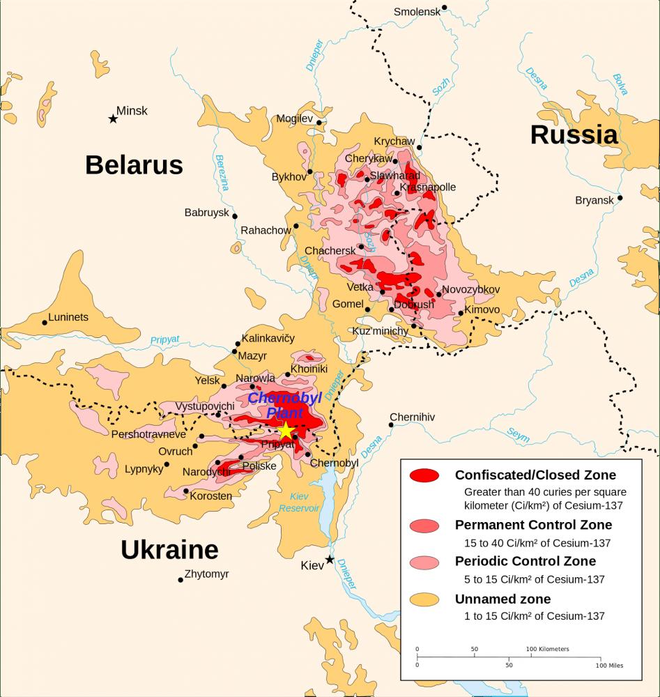 Map of contaminated territories around Chornobyl