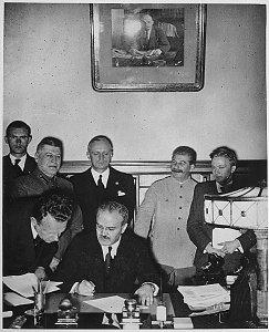 Stalin overlooking Molotov-Ribbentrop Pact, Aug 23, 1939