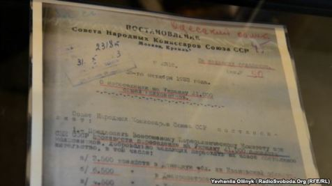 Secret decision on population resettlements in Ukraine by the Council of People's Commissars of the USSR