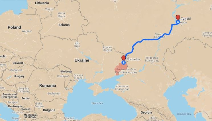 The route from Tolyatti to Shchastia. The territory under control of Russian/separatist forces is in red