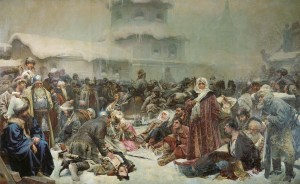 Martha the Mayoress at the Destruction of the Novgorod Veche by troops of Ivan III of Moscovy in 1478, by Klavdiy Lebedev (Image: Wikimedia)