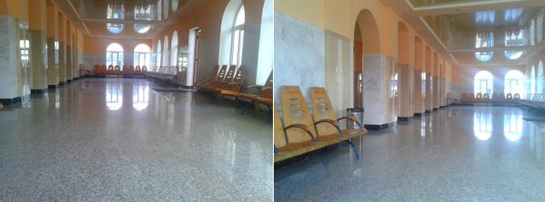 The main train station in Evpatoria, a major resort city in Crimea, stays empty after the Russian occupation of the Ukrainian peninsula. June 2015. (Image: Twitter)