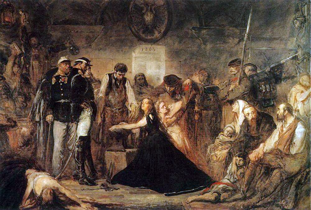 """Polonia (Poland), 1863"", by Jan Matejko, 1864, National Museum in Kraków, Poland. Pictured is the aftermath of the failed January 1863 Uprising. Captives await transportation to Siberia. Russian officers and soldiers supervise a blacksmith placing shackles on a woman (Polonia). The blonde girl next to her represents Lithuania. (Image: Wikimedia)"