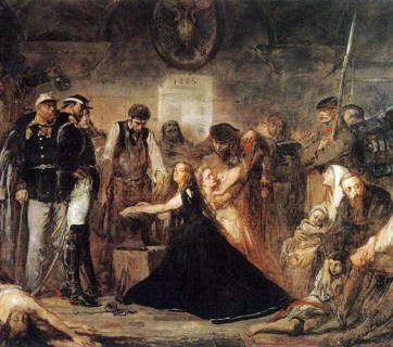 """""""Polonia (Poland), 1863"""", by Jan Matejko, 1864, National Museum in Kraków, Poland. Pictured is the aftermath of the failed January 1863 Uprising. Captives await transportation to Siberia. Russian officers and soldiers supervise a blacksmith placing shackles on a woman (Polonia). The blonde girl next to her represents Lithuania. (Image: Wikimedia)"""