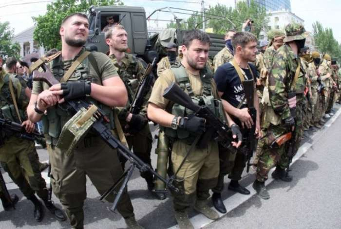 Russian Federation servicemen from Chechnia arriving in Donbas in 2014 (Image: AFP)