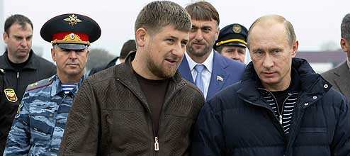 Putin with Chechen regional President Ramzan Kadyrov in Grozny, Chechnya, Thursday, Oct. 16, 2008 (Image: AP Photo/RIA-Novosti)