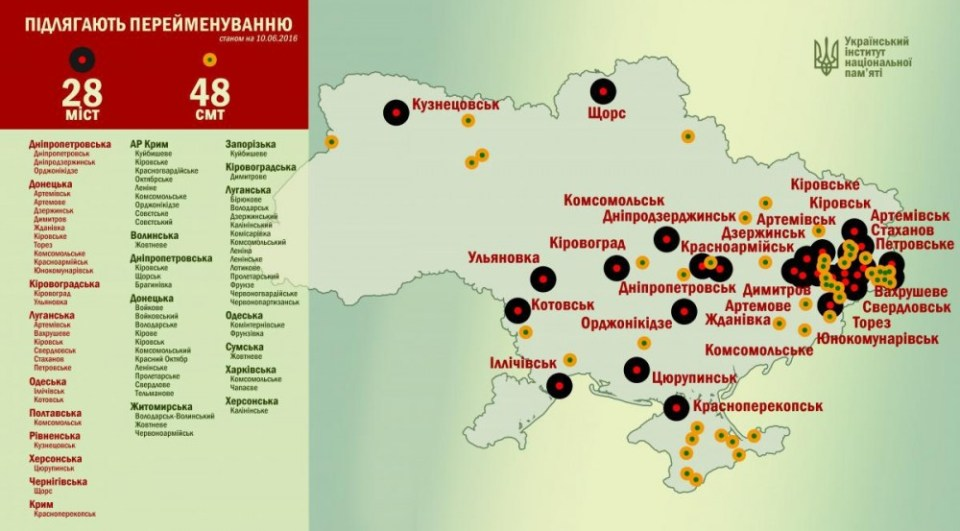 Map of renaming: 28 cities and 48 towns are to be renamed by November 21, 2015, which is the Day of Freedom and Dignity in Ukraine. The numbers are being updated, status of June 6, 2015  (Image: the Ukrainian Institute of National Memory)