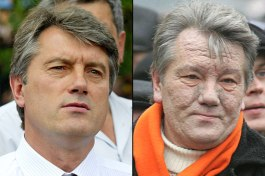 Viktor Yushchenko before and after poisoning. Reuters file photos
