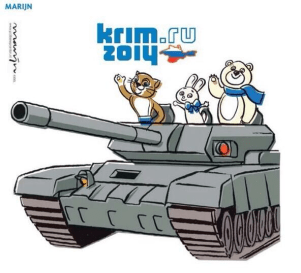 Russian militarism, the occupation of Crimea and its continued undeclared war in Ukraine has long undone any public relations benefits Russia received from the 2014 Olympics in Sochi, the most expensive Olympic Games in history. (Image: Marijn via Twitter)