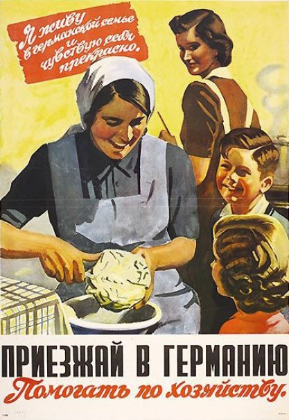 "A Nazi propaganda poster presenting a misleading image of Ostarbeiter life. The poster quotes the depicted woman as ""feeling well."" According to Niizkor, 4 Million ""Russians"" acted as slave labour in Nazi Germany, however that statistic is misleading as during the war Ukrainians were often depicted as being Russian and in fact it was Ukrainians that made up the overwhelming majority of that number. After the war many who had been forced to become Ostarbeiters found themselves in Stalin's Gulags having been condemned as ""traitors"" to the Soviet state."